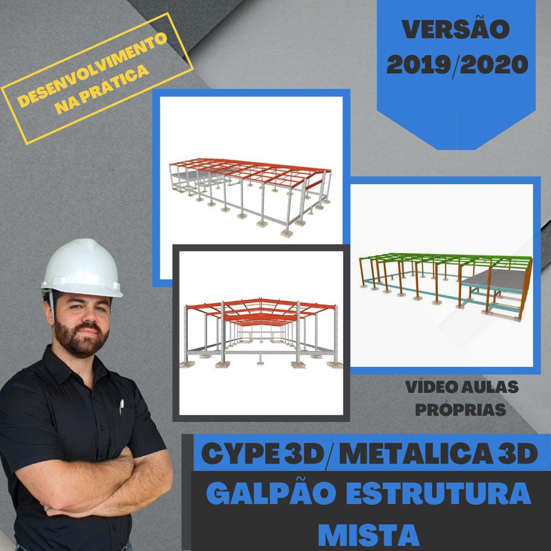 Cype 3D: Galpão com Tesoura em Perfil I, Pilar e Mezanino de Concreto